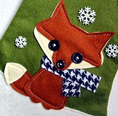 Fox Christmas Stocking in Olive Green by di AllenbriteStudio