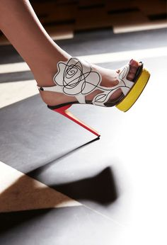 Nicholas Kirkwood infuses his Spring collection with a mischievously playful spirit. Wit and humor show in tandem with graphic colors, architectural cutouts and innovative materials.