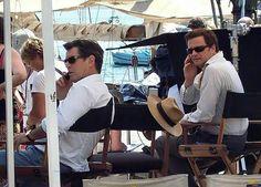 Mama Mia set -- Pierce Brosnan and Colin Firth.
