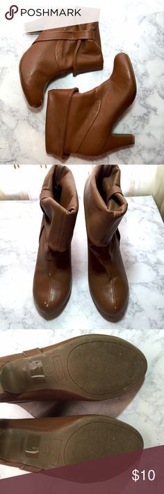 Bamboo Brown Booties Size 8 Has some damages As seen on pics   Fast shipping bamboo Shoes Heeled Boots