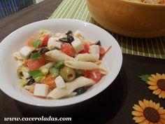 . Cazuelas: Ensalada de primavera de macarrones #Cazuelas #Ensalada #Ensalada de macarrones #macarrones #primavera Pasta Salad, Feta, Grains, Rice, Cheese, Ethnic Recipes, Website, Recipes, Casserole