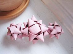 pink leather gift bow barrette