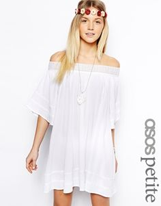 Image 1 ofASOS PETITE Swing Dress with Off Shoulder in Cheesecloth