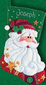 Sequined Santa Christmas Stocking Felt Applique Kit