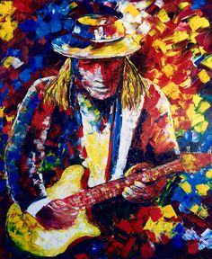 "https://flic.kr/p/xJVkZT | Stevie Ray Vaughan | Stevie Ray Vaughan jammin' on guitar. This is one of my first paintings concentrating on a particular person. I chose Stevie Ray Vaughan because he is not only an incredible guitar player, but it was a challenge for me to capture his music in a painting. This is a 20"" x 24"" oil painting by palette knife. The sides are also painted to extend the painting making this simple to hang without a frame."