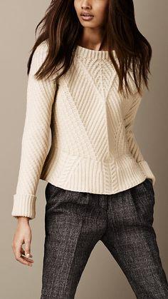 Merino Wool Peplum Sweater   Burberry