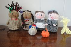 Pilgrim and Indian Dolls Thanksgiving Centerpiece Dolls Hand Knit Waldorf Thanksgiving Dolls.via Etsy.