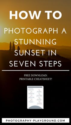 How to Photograph a Stunning Sunset in 7 Steps sunset photography, how to photograph sunsets, travel photography tips, photography tips – Sunset Photography can be [. Dslr Photography Tips, Landscape Photography Tips, Photography Lessons, Sunset Photography, Artistic Photography, Photography Business, Photography Tutorials, Digital Photography, Travel Photography