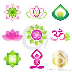 Collection of 9 vector isolated yoga logo elements. Lotos, om and meditation yoga person symbols on white background.Ideal for corporate logo, icon, illustration, prints on t-shirt. Yoga Logo, Mandala Tattoo Shoulder, Yoga Studio Home, Feng Shui Colours, Yoga Symbols, Logo Desing, Yoga Decor, Shiva Tattoo, Yoga Nidra