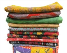 5 Pc Set Vintage Kantha Quilt Gudri Reversible Throw Ralli India wholesale lot #Handmade #Traditional