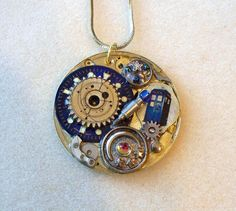 """Doctor Who Necklace Pocket Watch  """"Forest of the Dead"""""""