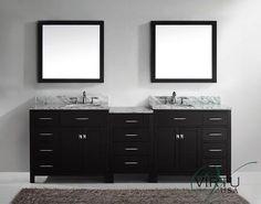 Virtu USA MD-2193-WMSQ-ES 93-Inch Caroline Parkway Double Square Sink Bathroom Vanity, Espresso