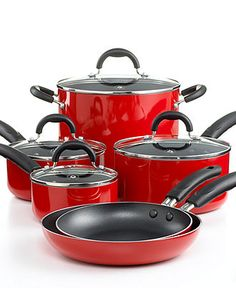 Martha Stewart Pots and Pans in Red - Macy's