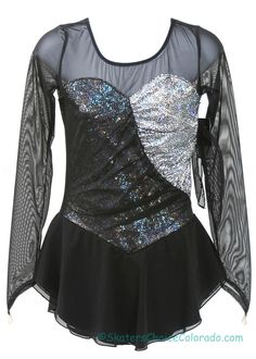 Andrea Long Sleeve Black Metallic Silver Adult M at www.SkatersChoiceColorado.com