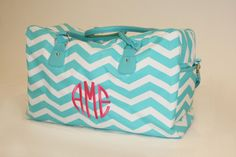 Travel in style with this cute Aqua Chevron Weekender Bag. Perfect for dance, Cheer, Gym, Sleepovers or weekend getaways! Regardless the occasion, you will be toting in fashion!