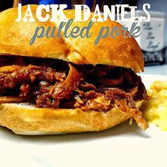 Jack Daniels Crockpot Pulled Pork.  Definitely making this for the party.