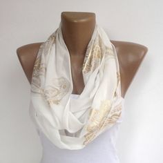 white scarf in gold pattern wedding scarf women summer spring scarf shawl chiffon scarf bridal bridemaid gifts senoAccessory on Etsy, 18,90 $