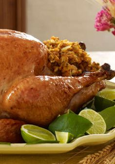 Honey Lime Glazed Turkey with Stuffing – The vibrant honey and lime sauce? That's just the gravy. Complemented with the meat of this roast turkey dish and the kicked-up garlicky stuffing, it's sure to be a hit during Thanksgiving.