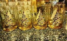 Set of Culver Satin Tree Christmas tree glasses I have bejeweled. This is my Summer project - bejeweling vintage Culver Christmas glasses.
