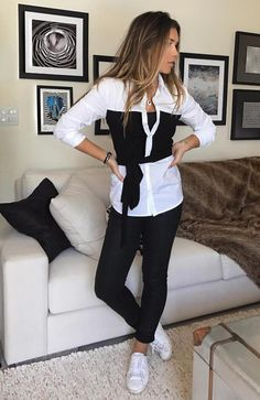 #summer #fashion White shirt with black Skinny black pants