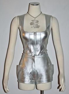 Vintage PACO RABANNE Outfit Silver Leather 3pcs Shorts Bustier Jacket