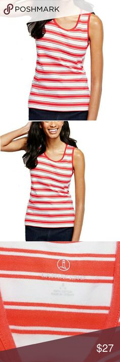 Lands' End Tank Top New Orange Striped Small Lands' End tank top new  FEATURES Size Small 100% Cotton knit scoop neckline sleeveless mid hip lengthMachine wash/dry.  . Size small  . Brand Lands End  . Condition NWOT  . Fit smooth  . Style Tank Top   . Color Orange  . tag posted:)  . Bundle & SAVE 25% off 🍍  No additional shipping charge when you purchase more from my closet   Every purchase will be packed with Care & a Special FREE GIFT 🎁   🍍 25% OFF on bundles   Inventory # 298 Lands'…