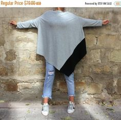 SALE ON 20 % OFF Grey Maxi Tunic/ long sleeve top/ plus size