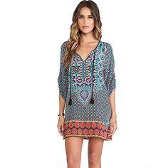 XILALU Women Totem Flower Pattern Vintage Print Loose Summer Dress (S). Material:Chiffon. Sleeve Length:3/4 Sleeves. Decoration:None. Sleeve Style:Regular. Pattern Type:Print. Style: Vintage &Casual. Waistline:Natural. Neckline:V-Neck. Gender:Women, girls.