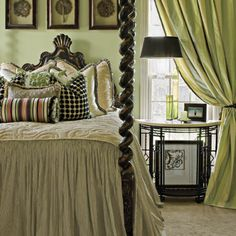 ♥ the barley twist four-poster with natural world greens & shapes mixed with bold black & white 'mod' checks, stripes and polka dots ~ Laurey W. Glenn / Styling Leigh Anne Montgomery
