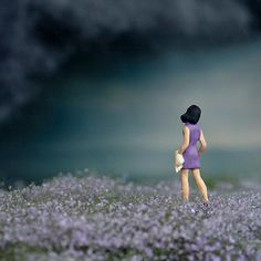 Miniature photo, rain clouds, lavender fields and girl in purple, Half Awake series, May - 8x10 photograph. $40.00, via Etsy.