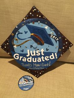"Disney World ""I'm Celebrating"" Button / Disneyland ""Just Graduated"" Button Graduation Cap 2017"