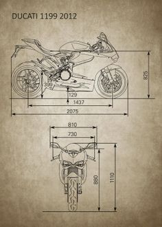 Ducati Corse Motorcycle Bike Italy Race Technical Sketch 2 Poster Matte Print