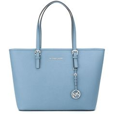 Michael Michael Kors Jet Set Travel Tote ($325) ❤ liked on Polyvore featuring bags, handbags, tote bags, blue, leather tote, leather tote handbags, leather purse, handbags totes and blue tote