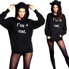 2016 Korea Black Fluffy Cat Ear Women Hoodies with Hood Warm Long sleeve Sweatshirt Casual Cute Outwear sudadera mujer