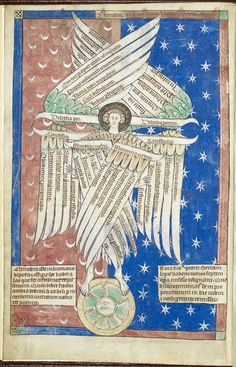 From the Manuscripts blog post 'Updated list of digitised manuscripts'. Image: Diagram of a cherubim, based on Alanus ab Insula (Alain of Lille)'s De sex alia cherubim, from the De Lisle Psalter, England, c. 1308 - c. 1340.