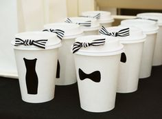 Audrey Hepburn inspired birthday party.  Love these custom drink tumblers / coffee cups.
