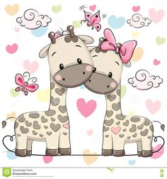 Illustration about Two cute cartoon giraffes on a hearts background. Illustration of greeting, giraffes, design - 79372800 Cartoon Heart, Cartoon Giraffe, Cute Giraffe, Cute Cartoon Animals, Baby Animals, Cute Animals, Giraffe Print, Heart Background, Cartoon Background