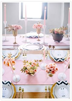 beautiful soft pink tablescape with chevron touches