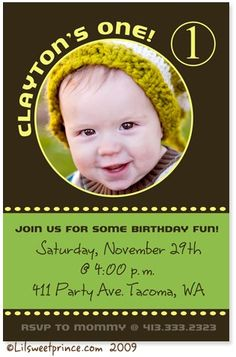 Green and Yellow Boy 1st Birthday Invitation