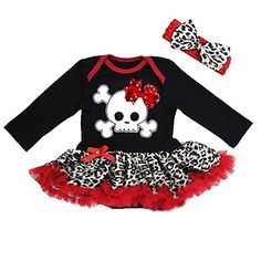 Baby Black & Red Pirate Bodysuit with Headband