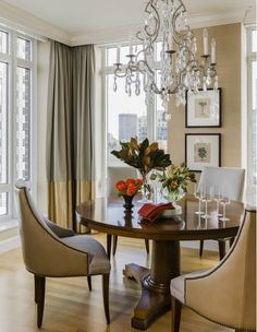 Dining Room Design with Round Wooden Table