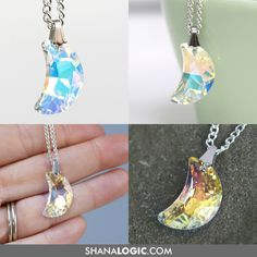 color-shifting Crystal Moon Necklace from shanalogic.com! http://www.shanalogic.com/crystal-moon-necklace.html