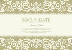 Vector Wedding Invitation with Floral Fringes