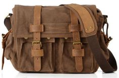 "Old School Messenger Bag Canvas and Leather 14"" Length - Coffee"