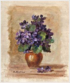 Фиалки в живописи... 12 - Неправильный глагол Maria Kistler (Austrian, 1884-1963) «Veilchenstock»