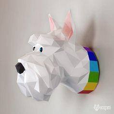DIY Scottish terrier dog papercraft trophy perfect for your wall decor by EcogamiShop Origami 3d, Impression 3d, Scottish Terrier, Low Poly, Silhouette Cameo, Modelos 3d, Paper Animals, Paper Models, Terrier Dogs