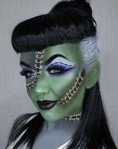 Here are the best Halloween makeup looks to copy this year Frankenstein Halloween-inspo IG: rachelduffyartistry Source by Yeux Halloween, Creepy Halloween Makeup, Amazing Halloween Makeup, Halloween Inspo, Halloween Looks, Frankenstein Halloween, Bride Of Frankenstein Makeup, Helloween Make Up, Monster Makeup