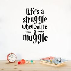 Q041 Life Is a Struggle...Harry Potter Quotes Wall Sticker Teens Room Decals Decor Free Shipping