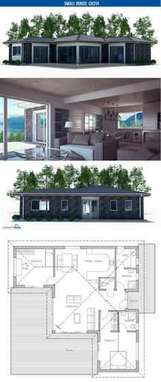 House Plan, two bedrooms. Floor Plan from ConceptHome.com