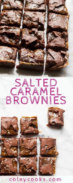 SALTED CARAMEL BROWNIES | This the BEST easy recipe for Salted Caramel Brownies! Super fudgy, chewy, salty, loaded with chocolate - they\'re like fudge! The best dessert ever. | ColeyCooks.com